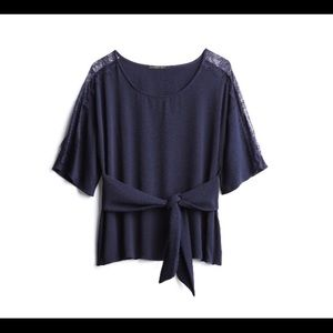 West Kei Lace Sleeve Tie Front Blouse M